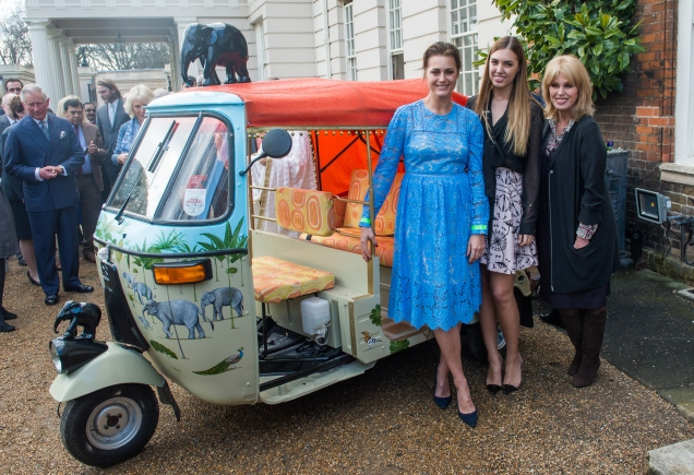 LONDON, ENGLAND - MARCH 26: (L-R) Yasmin Le Bon, Amber Le Bon and Joanna Lumley pose at the launch of 'Travels to my Elephant' Rickshaw Race at Clarence House on March 26, 2015 in London, England. (Photo by Samir Hussein/WireImage)